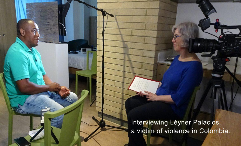 Patricia Garcia-Rios interviews Léyner Palacios, a victim of violence in Colombia.